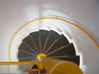 a spiral staircase at Paradix